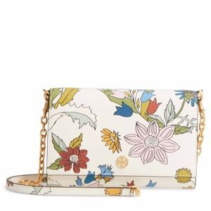 TORY BURCH Robinson Floral Leather Wallet chain